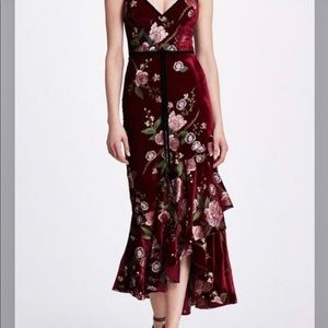 MARCHESA NOTTE WINE EMBROIDERED VELVET DRESS